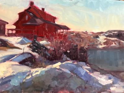 "Winter Red House 18x24"" sold"