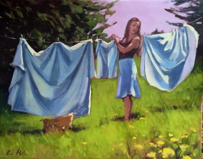 "Trailing Yew Laundress 24x30"" oil"