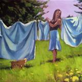 """Trailing Yew Laundress 24x30"""" oil"""