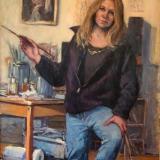 """Self Portrait from Last Winter  40x60"""" oil"""