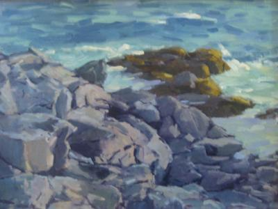 """Rocks and Surf 18x24"""" oil sold"""