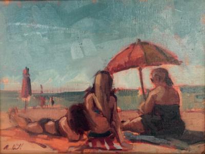 "The Beach  oil 9x12"""