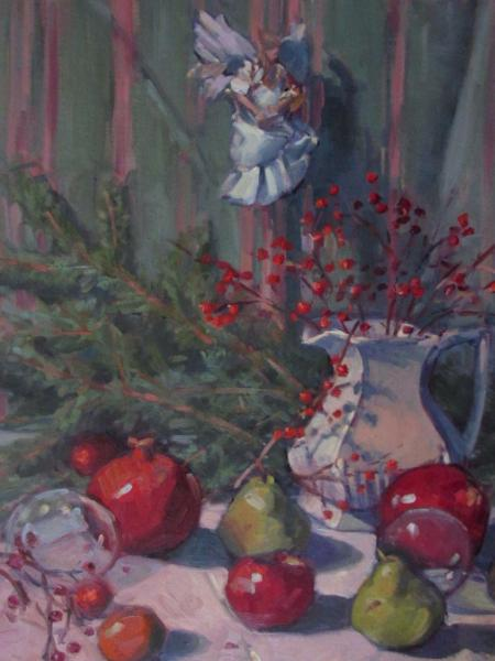 "Christmas Still Life 18x24"" oil"