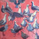"Big Red Gulls 30x30"" oil sold"