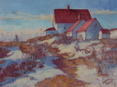 "Lighthouse Path in Winter 122x16"" oil sold"