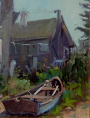 Fish Beach Cottage 11x14 oil  sold