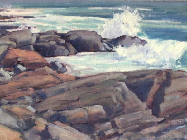 "Lobster Cove Surf 24""x36"" oil sold"