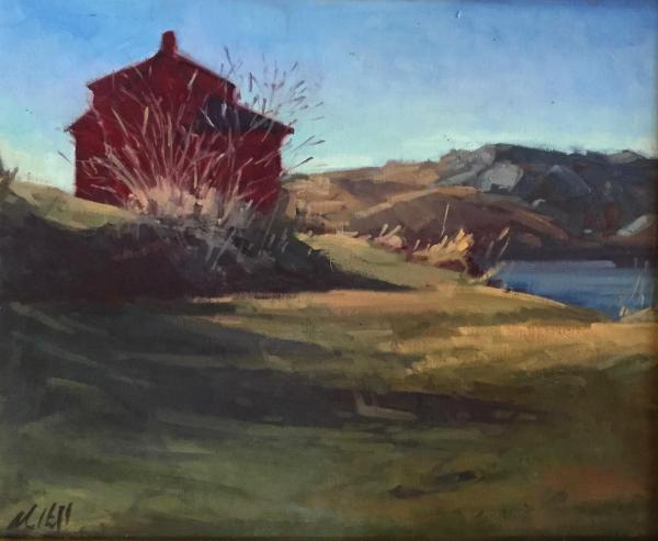"""March Red House 16x20"""" oil  sold"""