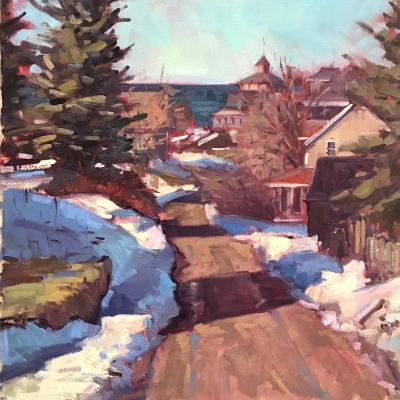 "Winter Road to Town 20x20"" sold"