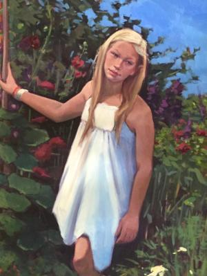 """Elf Girl in the Garden 30x40"""" oil"""