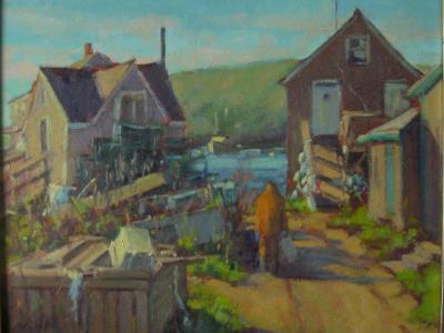 "Shermie's Fish House  16x20"" oil sold"