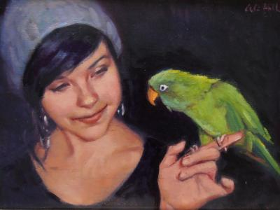 Dede and Oscar Wilde oil 12x16""