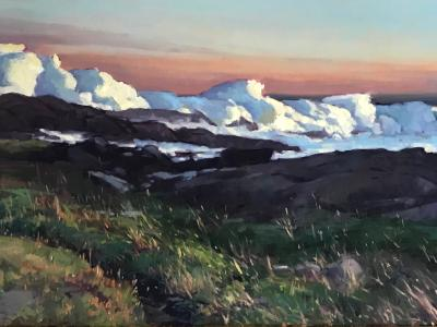"Crashing Wave Lobster Cove 24x48"" oil"