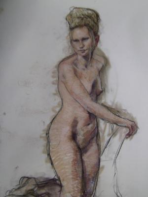 "Kneeling Female 30x40"" pastel"