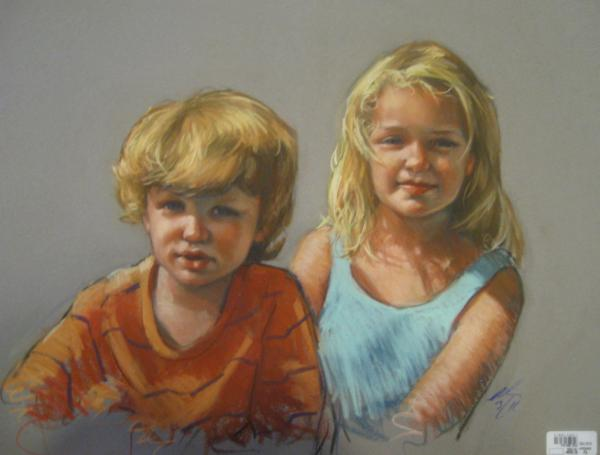 "Wyatt and Megan 18x24"" pastel"