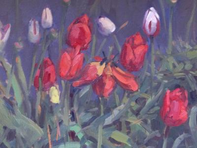 "Tulip Garden 12x16"" oil sold"