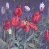"Tulip Garden 12x16"" oil sold"