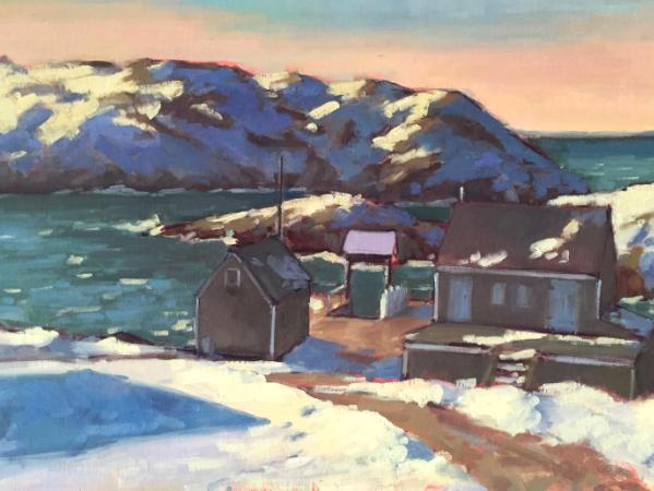 "Winter Dock 18x24"" oil"
