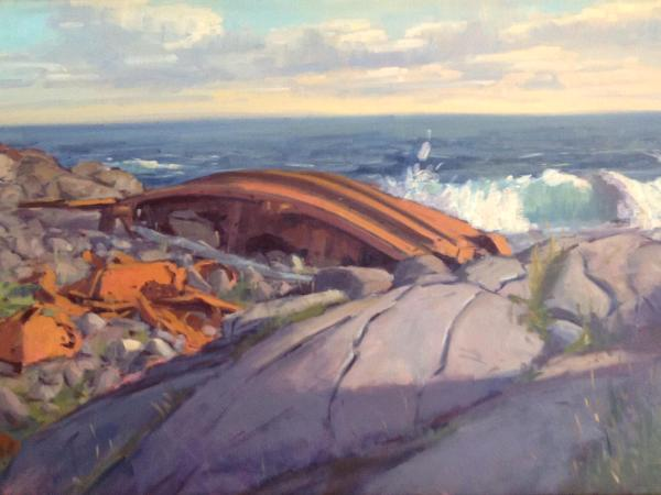 """The Shipwreck at Lobster Cove 24x36"""" oil"""