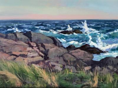"Lobster Cove Windy Day 16x20"" oil sold"
