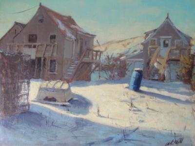 The Blue Barrel in Winter 18x24 oil  sold