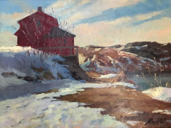 "Winter Red House 18x24"" oil sold"