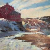 """Winter Red House 18x24"""" oil sold"""