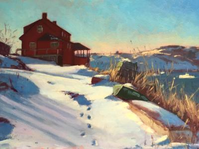 """Red House in Winter 20x30"""" oil"""