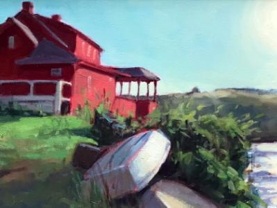 """Red House at Dusk 12x24"""" oil sold"""