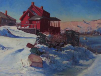"""The Red House in Winter 20x30"""" oil sold"""