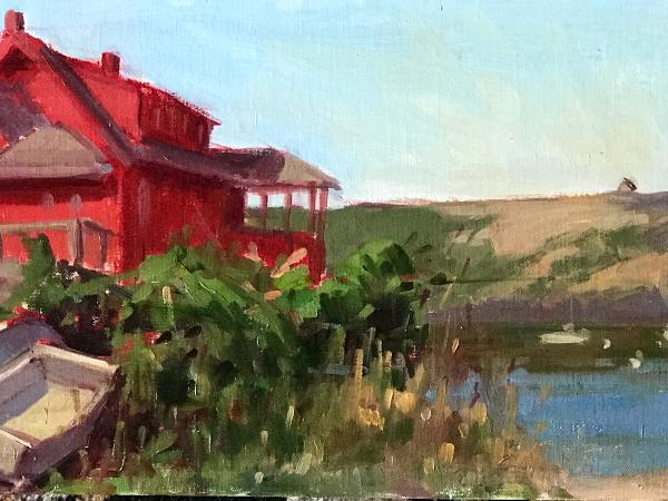 "Summer Red House 8x16"" oil sold"