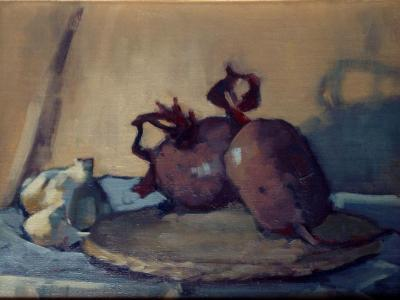 """Beets and Garlic 11x14"""" oil sold"""