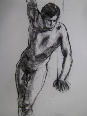 """Standing Male 24x36"""" charcoal"""