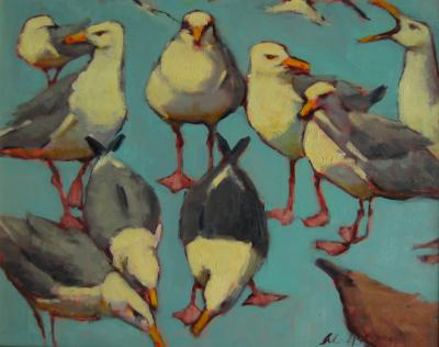 "Turquoise Gulls 16x20"" oil sold"