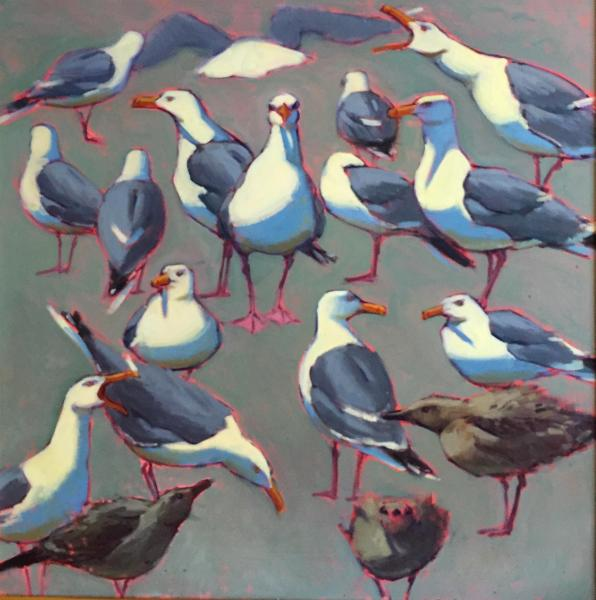 "Sea Green Gulls 30x30"" oil sold"