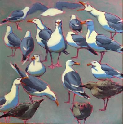 """Sea Green Gulls 30x30"""" oil sold"""