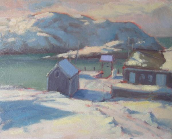"Monhegan Dock, Storm Brewing 16x20"" oil sold"