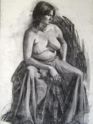 Seated Woman 30x48 charcoal